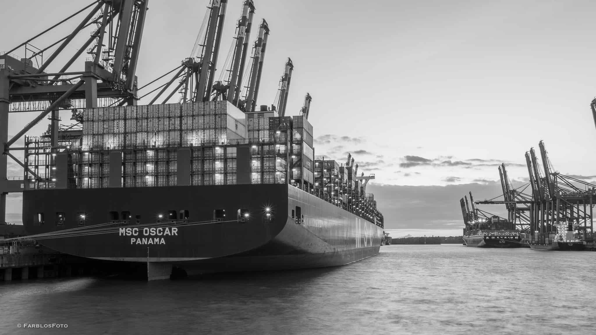 MSC Oscar am Eurogate und die YM Width am Burchardkai im Hamburger Hafen