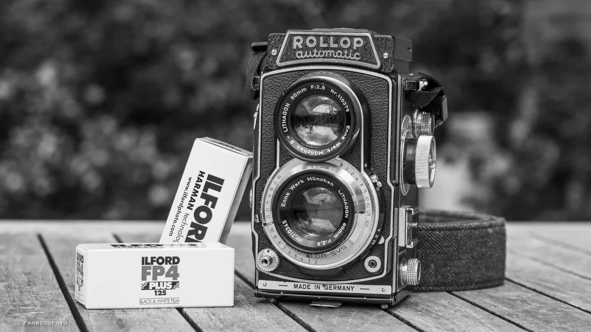 Lipca Rollop Automatic 2.8 mit Ilford FP4 Plus