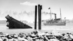 Schiffswrack UWE und das Dampfschiff SCHAARHÖRN