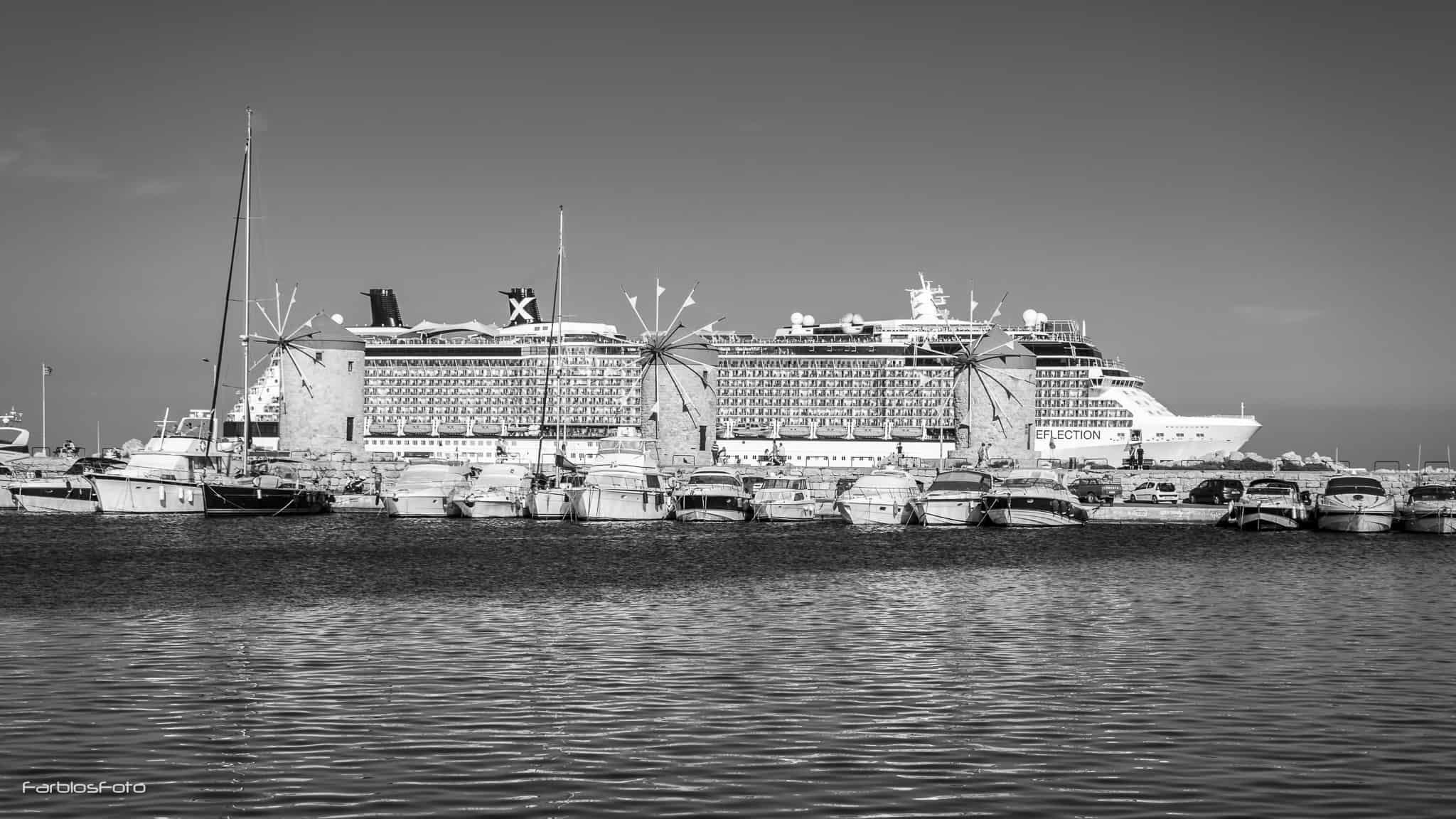 Mühlen an der Mole vom Mandraki Hafen